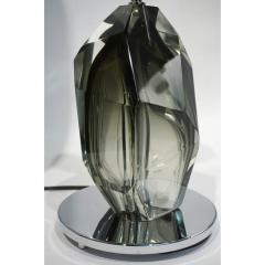 Alberto Dona Don Contemporary Italian Pair of Faceted Solid Rock Smoked Murano Glass Lamps - 639429