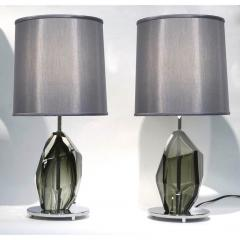 Alberto Dona Don Contemporary Italian Pair of Faceted Solid Rock Smoked Murano Glass Lamps - 639434