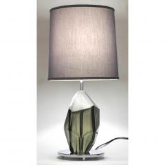 Alberto Dona Don Contemporary Italian Pair of Faceted Solid Rock Smoked Murano Glass Lamps - 639435
