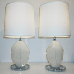Alberto Dona Don Contemporary Italian Pair of Faceted Solid Rock White Murano Glass Lamps - 1082103