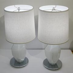 Alberto Dona Don Contemporary Italian Pair of Faceted Solid Rock White Murano Glass Lamps - 1082108