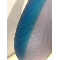 Alberto Dona Dona Modern Art Glass Aqua Blue Sculpture Vase with Red and Yellow Murrine - 1019159