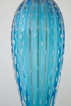 Alberto Dona Pair of Aquamarine Blue or Blue Topaz Murano Glass Lamps Italy Signed - 1607500