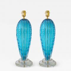 Alberto Dona Pair of Aquamarine Blue or Blue Topaz Murano Glass Lamps Italy Signed - 1608336