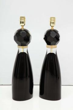 Alberto Dona Pair of Handblown Modern Black and Gold Murano Glass Lamps Italy Signed - 1913587