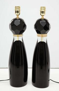 Alberto Dona Pair of Handblown Modern Black and Gold Murano Glass Lamps Italy Signed - 1913592