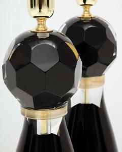 Alberto Dona Pair of Handblown Modern Black and Gold Murano Glass Lamps Italy Signed - 1913594