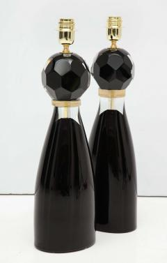 Alberto Dona Pair of Handblown Modern Black and Gold Murano Glass Lamps Italy Signed - 1913595
