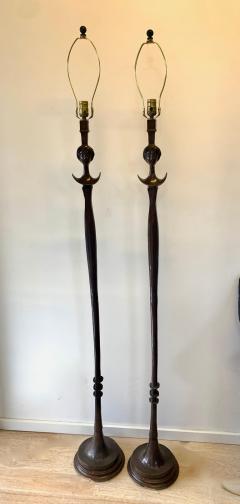 Alberto Giacometti Pair of Bronze Floor Lamps in the Style Giacometti - 1710408