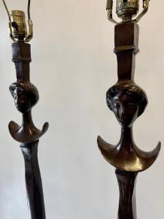Alberto Giacometti Pair of Bronze Floor Lamps in the Style Giacometti - 1710409