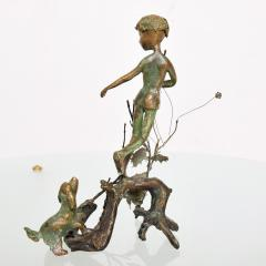 Alberto Giacometti Poetic Bronze Sculpture Boy in Tree with Dog Giacometti Figural Style 1940s - 1604644
