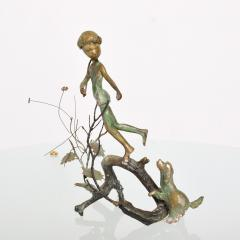 Alberto Giacometti Poetic Bronze Sculpture Boy in Tree with Dog Giacometti Figural Style 1940s - 1604646