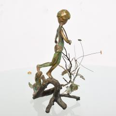 Alberto Giacometti Poetic Bronze Sculpture Boy in Tree with Dog Giacometti Figural Style 1940s - 1604647