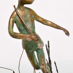 Alberto Giacometti Poetic Bronze Sculpture Boy in Tree with Dog Giacometti Figural Style 1940s - 1604649
