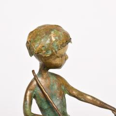 Alberto Giacometti Poetic Bronze Sculpture Boy in Tree with Dog Giacometti Figural Style 1940s - 1604651