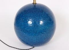 Aldo Londi Aldo Londi for Bitossi Persian Blue Ball Table Lamp circa 1950s - 1583168