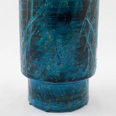 Aldo Londi Aldo Londi for Bitossi blue and black cylindrical vase circa 1960s - 1053345