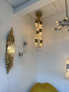 Aldo Nason Brass Chain Chandelier Murano Glass by Aldo Nason for Mazzega Italy 1970s - 1805004