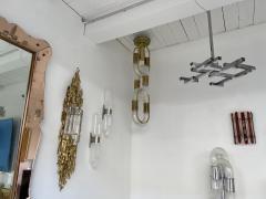 Aldo Nason Brass Chain Chandelier Murano Glass by Aldo Nason for Mazzega Italy 1970s - 1805006