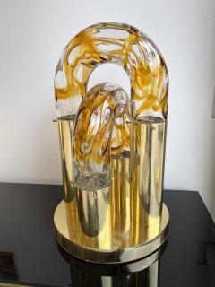 Aldo Nason Brass and Murano Glass Lamp by Aldo Nason for Mazzega Italy 1970s - 1930503