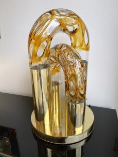 Aldo Nason Brass and Murano Glass Lamp by Aldo Nason for Mazzega Italy 1970s - 1930508