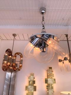 Aldo Nason Chandelier Chrome Murano Glass by Aldo Nason for Mazzega Italy 1970s - 1391179