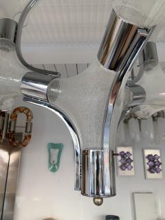 Aldo Nason Chandelier Ice Murano Glass Metal by Aldo Nason for Mazzega Italy 1970s - 1191304