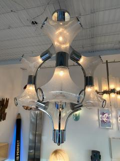 Aldo Nason Chandelier Ice Murano Glass Metal by Aldo Nason for Mazzega Italy 1970s - 1191309