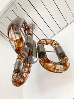Aldo Nason Chandelier Murano Glass Metal by Aldo Nason for Mazzega Italy 1970s - 1139437
