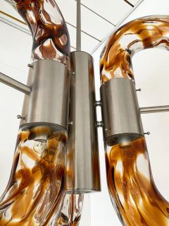 Aldo Nason Chandelier Murano Glass Metal by Aldo Nason for Mazzega Italy 1970s - 1139439
