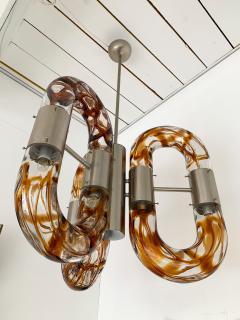 Aldo Nason Chandelier Murano Glass Metal by Aldo Nason for Mazzega Italy 1970s - 1139446