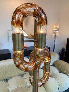 Aldo Nason Floor Lamp Brass Murano Glass by Aldo Nason for Mazzega Italy 1970s - 1202873