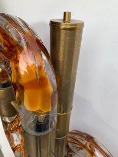 Aldo Nason Floor Lamp Brass Murano Glass by Aldo Nason for Mazzega Italy 1970s - 1202874