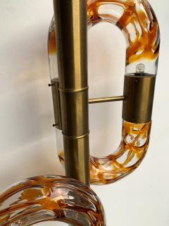 Aldo Nason Floor Lamp Brass Murano Glass by Aldo Nason for Mazzega Italy 1970s - 1202878
