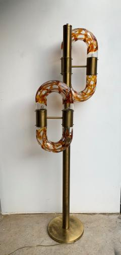 Aldo Nason Floor Lamp Brass Murano Glass by Aldo Nason for Mazzega Italy 1970s - 1202882