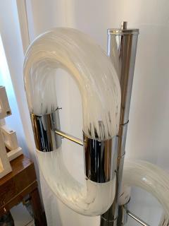 Aldo Nason Floor Lamp Metal Chrome Murano Glass by Aldo Nason for Mazzega Italy 1970s - 1048038