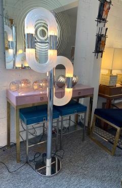 Aldo Nason Floor Lamp Metal Chrome Murano Glass by Aldo Nason for Mazzega Italy 1970s - 1048041