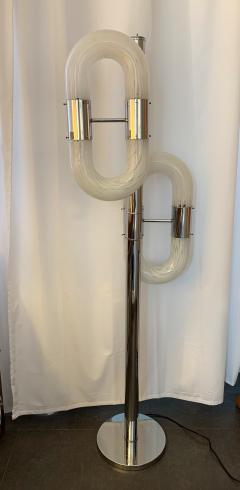 Aldo Nason Floor Lamp Metal Chrome Murano Glass by Aldo Nason for Mazzega Italy 1970s - 1048042