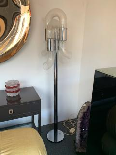 Aldo Nason Floor Lamp Metal Chrome Murano Glass by Aldo Nason for Mazzega Italy 1970s - 1199162
