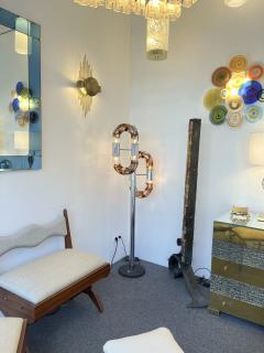 Aldo Nason Floor Lamp Metal Chrome Murano Glass by Aldo Nason for Mazzega Italy 1970s - 2041596
