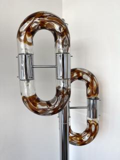 Aldo Nason Floor Lamp Metal Chrome Murano Glass by Aldo Nason for Mazzega Italy 1970s - 2041599