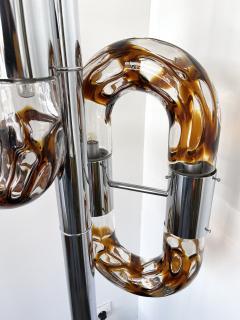 Aldo Nason Floor Lamp Metal Chrome Murano Glass by Aldo Nason for Mazzega Italy 1970s - 2041602