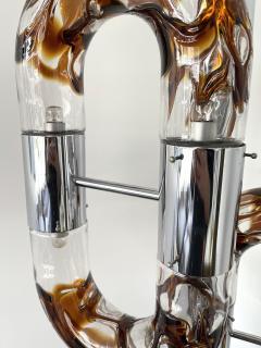 Aldo Nason Floor Lamp Metal Chrome Murano Glass by Aldo Nason for Mazzega Italy 1970s - 2041604