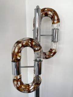 Aldo Nason Floor Lamp Metal Chrome Murano Glass by Aldo Nason for Mazzega Italy 1970s - 2041605