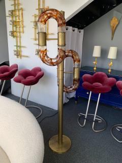 Aldo Nason Floor Lamps Brass Murano Glass by Aldo Nason for Mazzega Italy 1970s - 1313836