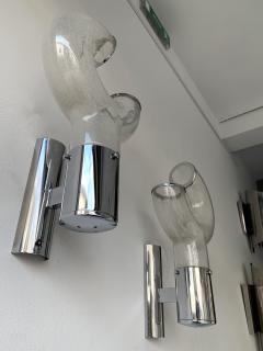 Aldo Nason Pair of Sconces Glass Metal by Aldo Nason for Mazzega Murano Italy 1970s - 1191340