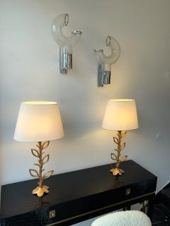 Aldo Nason Pair of Sconces Glass Metal by Aldo Nason for Mazzega Murano Italy 1970s - 1191344
