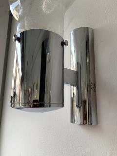 Aldo Nason Pair of Sconces Glass Metal by Aldo Nason for Mazzega Murano Italy 1970s - 1191345