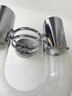 Aldo Nason Pair of U Sconces Metal Murano Glass by Aldo Nason for Mazzega Italy 1970s - 2017104