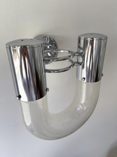 Aldo Nason Pair of U Sconces Metal Murano Glass by Aldo Nason for Mazzega Italy 1970s - 2017110